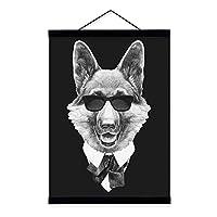 """現代の動物白黒動物キャンバス壁アート絵画写真プリント猫犬アートプリント寝室保育園の装飾のためにハングする準備ができて,A,23.6""""x31.5''"""