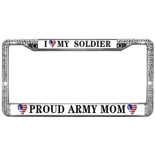 Xinnowping Proud Army Mom License Plate Frame for Women Girls I Love My Soldier Diamond License Plate Frame Aluminum Custom Metal Car License Plate Fits US & Canadian Vehicles