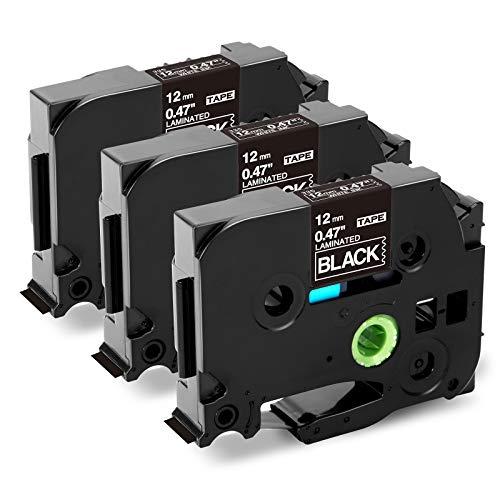 Markurlife Compatible Tape Replacement for Brother TZe-335 TZe335 Label Maker Tape 1/2 White on Black, TZ-335 Laminated Tape 12mm 0.47 Black for PT-H100 PT-D210 PTD400AD PT-D600, 3-Pack