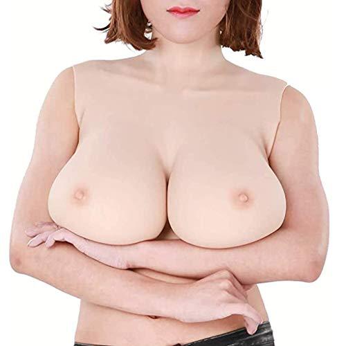 ZAYZ Brustformen für Crossdresser, Hoher Kragenstil Brustvergrößerung, B-G Cup, Weich Lebensecht Mastektomie-BH (Color : Nude, Size : D Cup)
