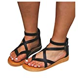 Cenglings Rome Shoes,Summer Women Flat Clip Toe Strappy Flat Sandals Breathable Hollow Out Sandals Ankle Strap Buckle Shoes(Black,38)
