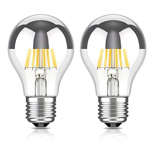 ledscom.de E27 testa a specchio LED Lampadina filamento A60 6W =55W bianca calda 710lm A++ per interni ed esterni, 2 PZ
