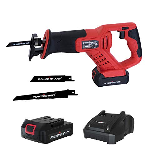 PowerSmart Reciprocating Saw, 20V Cordless Reciprocating Saw, Power Saw, Variable Speed Trigger Sawzall, Tool-free Blade Change, 2 Blades & Battery & Charger Included, PS76415A