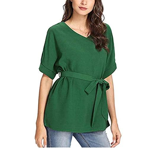 Camisa Mujer Escote En V Color Sólido Arco Cinturón Mujer Camisa All-Match Ocio Temperamento Personalidad Moda Desplazamientos Verano Manga Murciélago Mujer Tops A-Green XXL