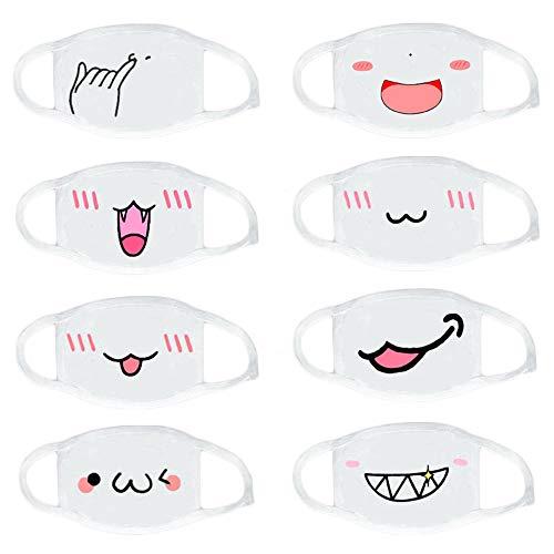 Keleily Mundmaske Anime 8St Kawaii Mundmaske Weiß Baumwolle Masken Anti-Staub Maske Anti-beschlag Maske Smiley-Muster für Erwachsene, Mädchen, Jungen, Zufälliges Muster