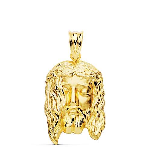 Ciondolo a forma di testa di Cristo in oro 18 carati, 23 mm, personalizzabile