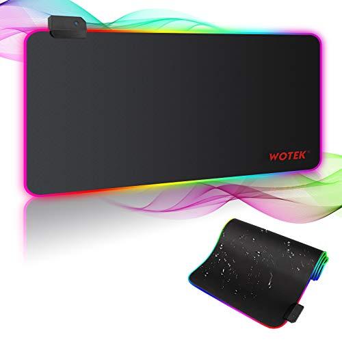 Gaming Mauspad RGB Mousepad XXL Groß 800x300 mm Mouse Pad Gaming mit 7 LED Farben 14 Beleuchtungs Modi Rutschfester Gummibasis und Wasserdicht Oberfläche Maus Pad für Computer PC Professionelle Gamer