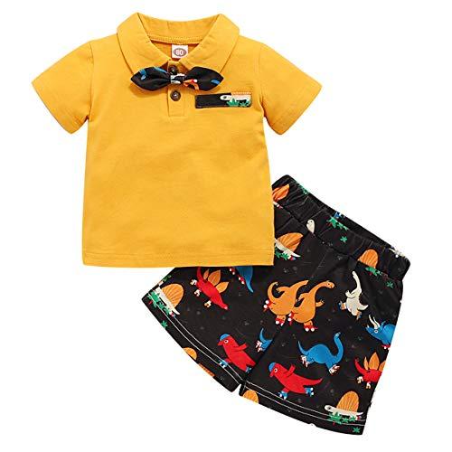 Tianhaik Conjunto de Ropa para Niños Verano Bebés Varones Niñas Caballero Tops de Solapa Pura con Corbata + Pantalones Cortos Estampados