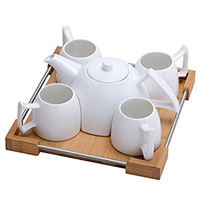 Mini Porcelain Tea Set - Ceramic Teapot Coffee Cup Set for Drinking Tea, Latte, Espresso, Water including White Tea Pot, 4 Cups, Bamboo Serving Tray
