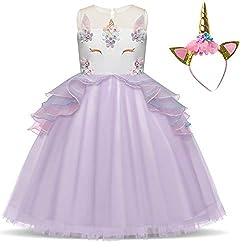 Purple with Headband Kids Ruffles Lace Dress