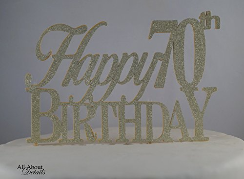 All About Details Gold Happy-70Th-Birthday Cake Topper