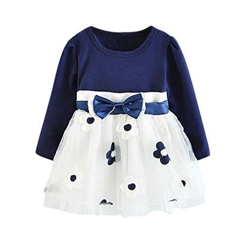 LUCKME Kleider für Mädchen Kinder Baby Mädchen Langarm Blumen Blumen Prinzessin Kleid T-Shirt Kleidung Set Kinder Kleider Mädchen Blume T-Shirt (90, Blau)