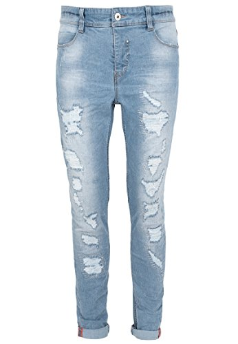 Sublevel Herren Skinny Fit Jeans mit Heavy Destroyed Parts | Bequeme Stretch-Jeans Light-Blue 34