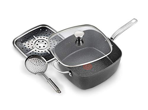 Tefal G119S444 Titanium Excel All in One Pfanne, Stein-Optik, Schwarz