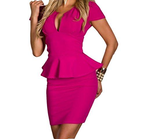 Vestiti Donna - Abiti Corti Ragazza - Fashion Moderno da Discoteca Party Sera Ballo O Festa - Eleganti per Sposa Cerimonia O Damigella (XL, Fucsia Tubino)