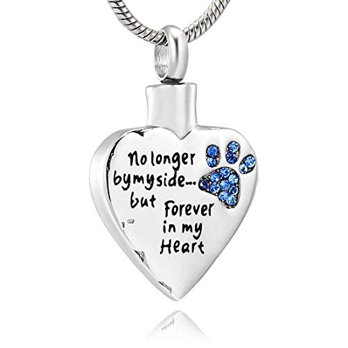 LYFML Cremation Jewelry Urn Necklace for Ashes for Pet Dog Cats, Engraved No Longer by My Side, But Forever in My Heart, Memorial Pendant Made of Titanium Steel, Support for Customization