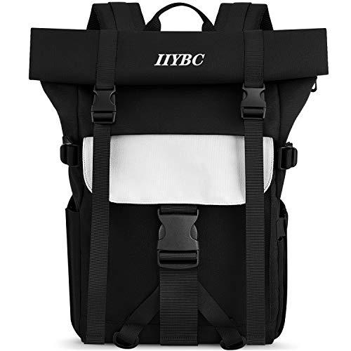 IIYBC Laptop Rucksack, Rolltop 15.6 Zoll Reise WanderRucksack mit USB-Anschluss, Anti-DiebstahlWickelrucksack Daypack für BusinessFreizeit Schule Arbeit, Damen und Herren, Leicht & Wasserdicht