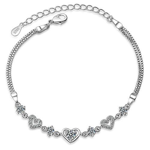 Pulsera de moda dulce estilo de cristal mujeres pulsera moda 925 pulsera de plata esterlina chica novia boda fiesta pulseras