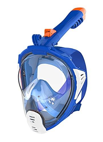 AQUAZON Sirius. SGS getestete Schnorchelmaske, Tauchmaske, Vollgesichtsmaske für Erwachsene und Kinder, Farbe :Blau, Größe Full Face Masken:Senior L-XL