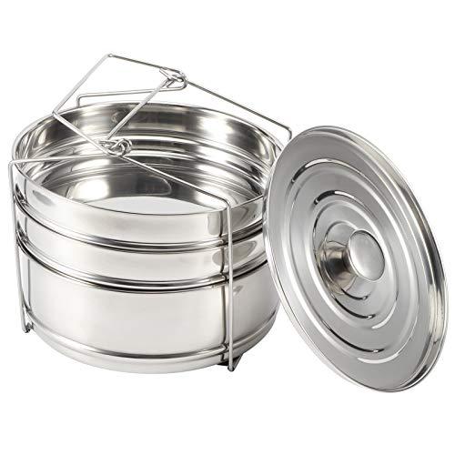 Cuiseur vapeur à trois couches en acier inoxydable, pot chaud, cuiseur vapeur, pot à soupe, couvercle en verre trempé, conception multicouche, facile à démonter et à nettoyer, et les aliments sont cha