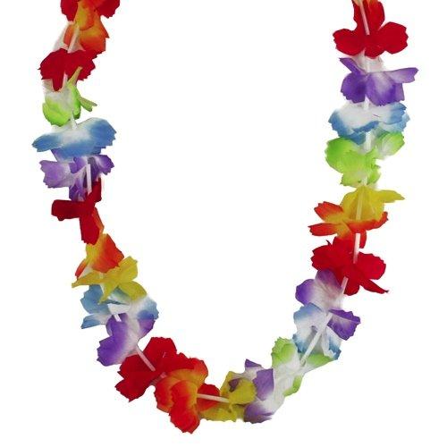 Lot de 12 colliers hawaïens HULA FLOWER arc-en-ciel