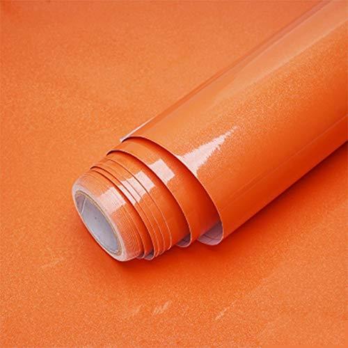 Jidan 1M / 2M Moderne Wohnzimmer-Möbel Tischwasserdicht Marmor Tapeten Vinylselbstklebenden Kontakt Papier Solid Color Home Decor (Color : Shiny Orange, Dimensions : 40cm x 2m)