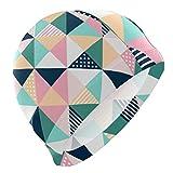 Tcerlcir Gorro Natación Estampado de Cuadros de triángulo Colorido Gorro de Piscina para Hombre y Mujer Hecho de Silicona Ideal para Pelo Largo y Corto