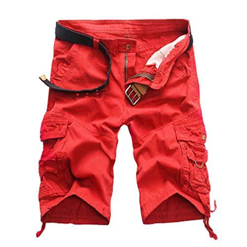 Elibone Cargo Shorts Men Cool Camouflage Casual Short Pants Summer Thin Shorts Joggers Sweatpants Cotton Brand Camo Shorts,Red,36