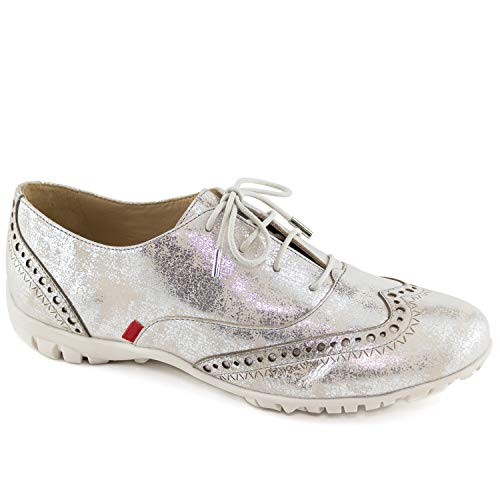 Womens Casual Comfortable Genuine Leather Lightweight Performance Spikeless Breathable Waterproof Cushion Support Laceup Golf Shoe Silver Metallic Wash 9.5