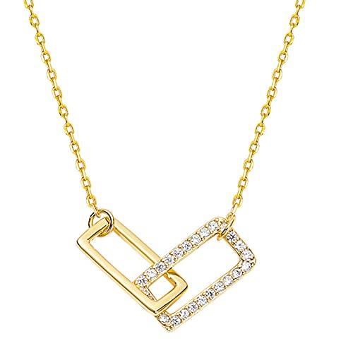 qianbanger Collares de plata925 Collar Cuadrado de Plata esterlina Tendencia Femenina diseño de nicho Sentido luz Lujo Alto Sentido Cadena de clavícula Temperamento Simple Femenino
