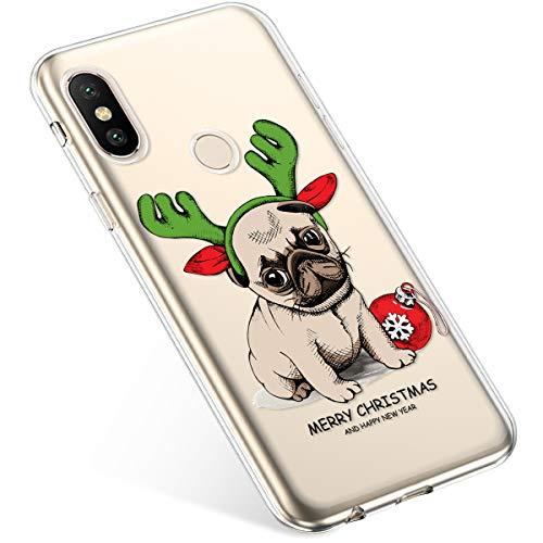 Uposao Coque pour Xiaomi Mi A2 Lite Etui Silicone TPU Souple Transparente Coque Noël Cerf Flocon de Neige père noël Sapin de Noël Elk Christmas Motif Ultra Mince Premium Hybrid Case Coque.