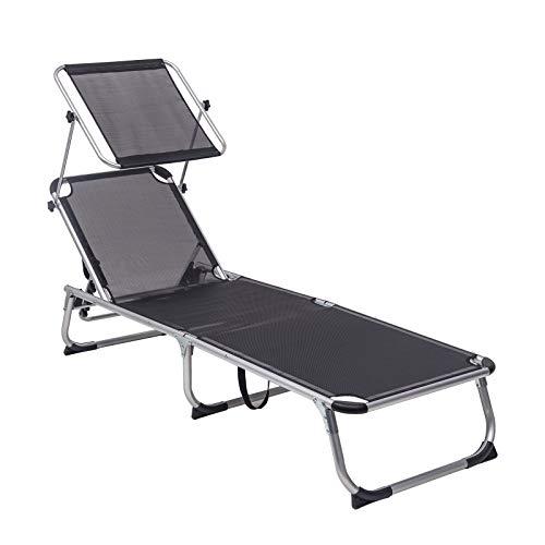 WOLTU Sonnenliege Gartenliege Liegestuhl mit Dach 3-Beinliege Alu, klappbar Balkonliege Textilgewebe, wetterfest, Rücklehne verstellbar, LS001gr