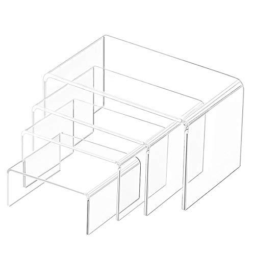 Elevadores de exhibición de acrílico transparente, paquete de exhibición de 4 paquetes para figuras, buffets, cupcakes y soportes de exhibición de joyas, con película protectora adhesiva