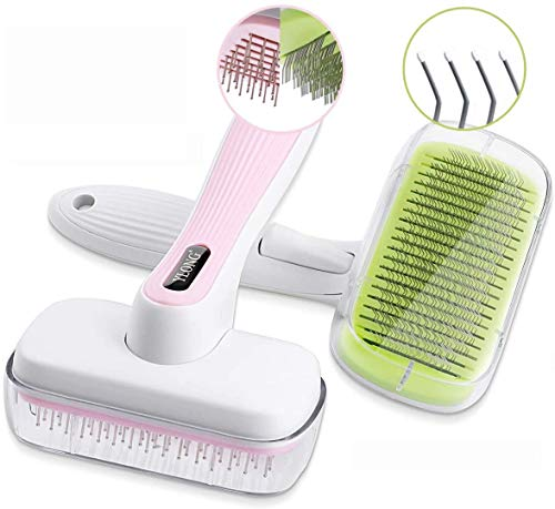 YLONG Pet Grooming Brushes 2Packs Self-Cleaning Slicker Brush and Massage Brush for Dogs and Cats Easy to Clean Pet Deshedding Grooming Tools for Long...
