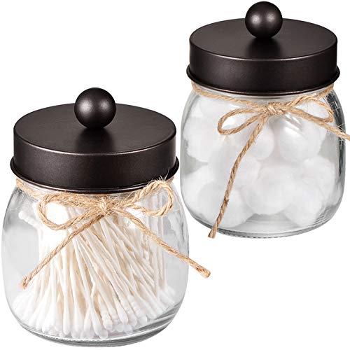 Mason Jar Bathroom Apothecary Jars - Rustproof Stainless Steel LidFarmhouse DecorBathroom Vanity Storage Organizer Holder Glass for Cotton SwabsRoundsBallFlossersBronze 2-Pack-Patent Pending