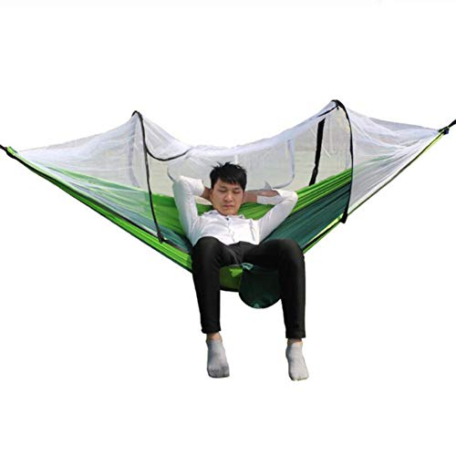 LINZXU-Outdoor Hangmat 260 X 140 Cm Ultra Licht Draagbare Camping Hangmat Automatische Paal met Muggennet UV Bescherming Geschikt voor Camping Wandelen Picknick Reizen