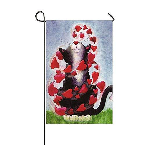 N / A Gato Negro Jugar Corazones Rojos Feliz Día de San Valentín Jardín Bandera Casa Bandera Decoración Bandera de Doble Cara