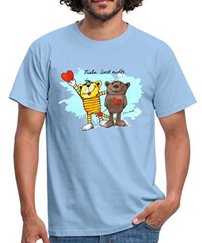 Janosch Tiger Und Bär Beste Freunde Liebe Männer T-Shirt, L, Sky