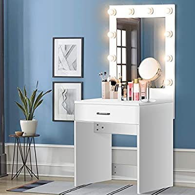US Shipping Vanity Set with Lighted Mirror, YEEGO Makeup Vanity Dressing Table Dresser Writing Desk with Drawer for Bedroom Easy Assembly, White(10PCS Warm LED Bulbs)