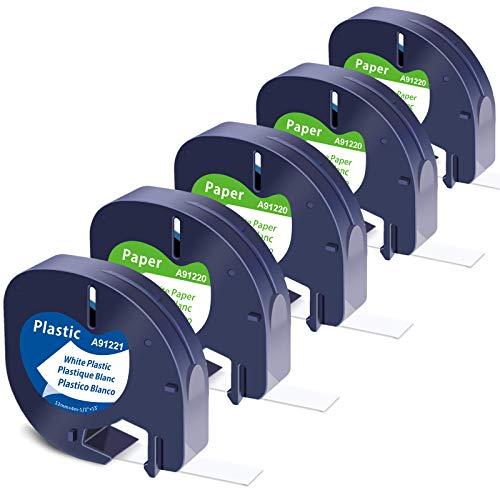 Nastri per Etichette MarkField compatibile in sostituzione di Dymo Letratag Plastica Etichettatrice Carta Nastro, 12mm x 4m Nera su Bianco Ricarica per Dymo Letratag LT-100H LT-100T QX 50 XR XM