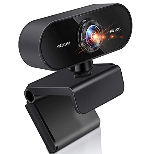 BIGFOX Webcam 1080P Full HD 30PFS con Microfono con Cancellazione Del Rumore, Web Camera Rotazione a 360° USB 2.0 Videocamera PC per Videochiamate, Studio, Conferenza, Registrazione e Giochi