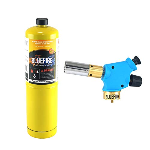 BLUEFIRE Handy Cyclone Propane Torch Head Trigger Start Push Button Piezo Ignition Fuel by MAPP MAP PRO Gas Cylinder Welding Soldering Brazing Cooking Glass Beads DIY (Kit with MAPP Gas)