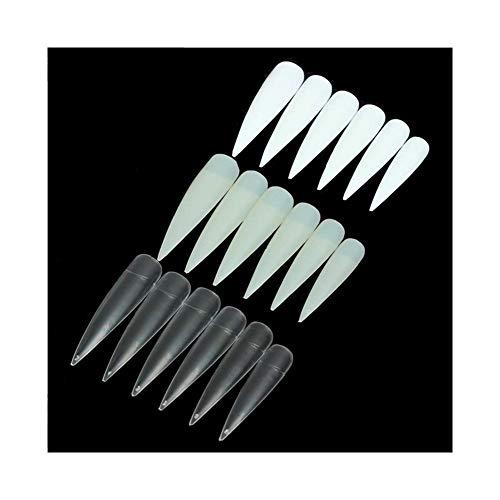 Nologo KYT-ma 500pcs Faux Ongles Conseils Long cuspidales Stiletto Ongles Conseils Salon Blanc Français Acrylique manucure Maquillage for Le Bricolage Ongles (Couleur : Blanc)