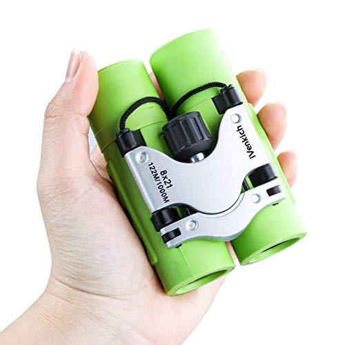 Binoculars for Kids, Compact Binoculars for Bird Watching iVenkich 8X21 Mini Binoculars for Boys and Girls Small Lightweight Binoculars for Hunting Travel Stargazing Hiking Camping Concert (Green)