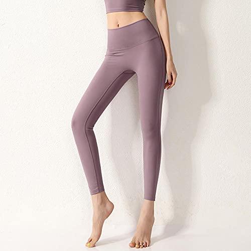 WUHUI Mallas de Yoga no Transparentes, Pantalones Deportivos Ajustados con Cintura Alta, Purple_L, Fitness Running Deporte Elásticos y Transpirables Pantalones