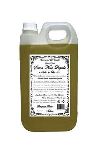 Jabón negro líquido con aceite de lino, selección de prestigio, jabón negro líquido para el hogar, natural, ecológico y biodegradable, sin aceite de palma, sin disolventes, 5 litros