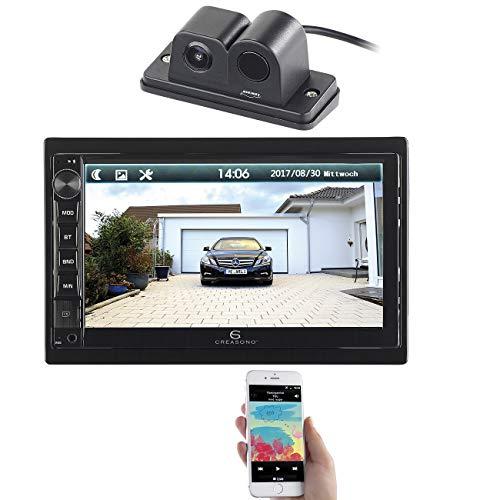 Creasono Autoradio USB: 2-DIN-MP3-Autoradio mit Touchdisplay und Farb-Rückfahrkamera (Autoradio USB Bluetooth)