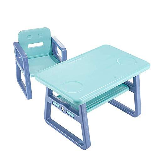 HEMFV Kinder Studie Tisch und Stuhl Set, Kunststoff Heim Spiel-Tabellen-Licht-Gewicht Tisch und Stuhl Set for Gastronomie Lernen (für Kinder ab 3 Jahre und älter) (Color : Blue)