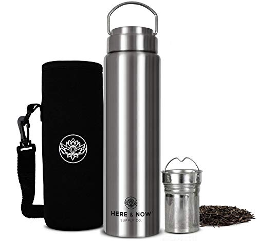All-Purpose Travel Mug and Tumbler   Tea Infuser Water Bottle   Fruit Infused Flask   Hot & Cold Double Wall Stainless Steel Coffee Thermos   by Here & Now Supply Co. (750 ml (25.3 oz))