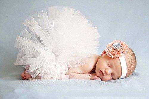 DAYAN Photo Photographie Prop costume de bébé fille sait TuTu robe fleur rose bandeau Couleur Blanc